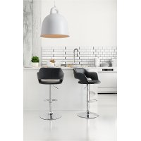 Black Leatherette Bar Stool - Hyster