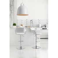 White Leatherette Bar Stool - Hyster