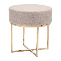 Modern Beige and Stainless Steel Stool - Bon