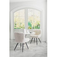 Sherpa Faux Fur Ivory Dining Room Chair - Coco C