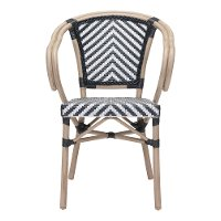 Set of 2 Black and White Outdoor Patio Dining Chairs - Paris