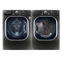 KIT LG Front Load Washer and Dryer Set - Black Stainless Steel Electric