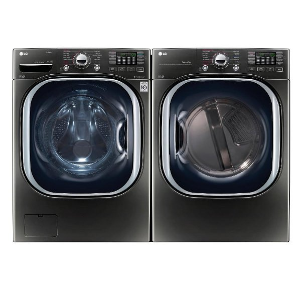 Kit Lg Front Load Washer And Dryer Set Black Stainless Steel Electric