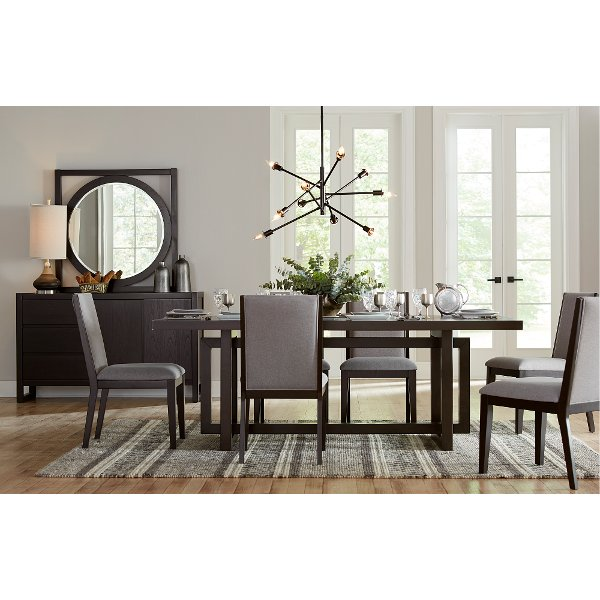 ... Clearance Modern Dark Brown And Gray 7 Piece Dining Set   Crosby Street