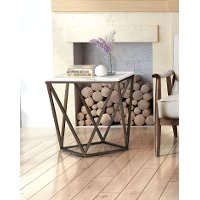 Contemporary Geometric Stone and Brass End Table - Tintern