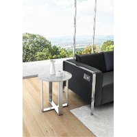 Modern Marble and Stainless Steel End Table - Atlas