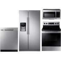 KIT Samsung 4 Piece Electric Kitchen Appliance Package with 25 cu. ft. Side by Side Refrigerator - Stainless Steel