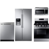 KIT Samsung 4 Piece Kitchen Appliance Package with Gas Range 5.8 cu. ft. - Stainless Steel