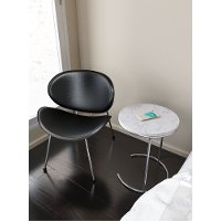 Contemporary Marble End Table with Wireless Charging - Kensington