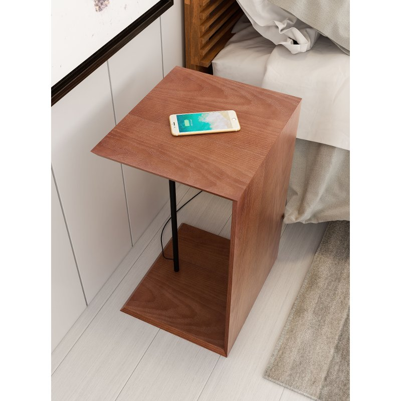 Contemporary Wooden End Table with Wireless Charging - Chester