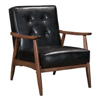 Black Leatherette Accent Chair - Rocky