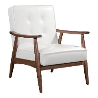White Leatherette Accent Chair - Rocky