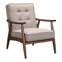 Putty Gray Linen Accent Chair - Rocky