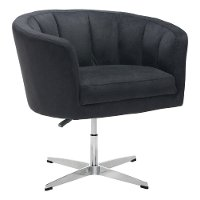 Vintage Modern Black Swivel Lounge Chair - Wilshire