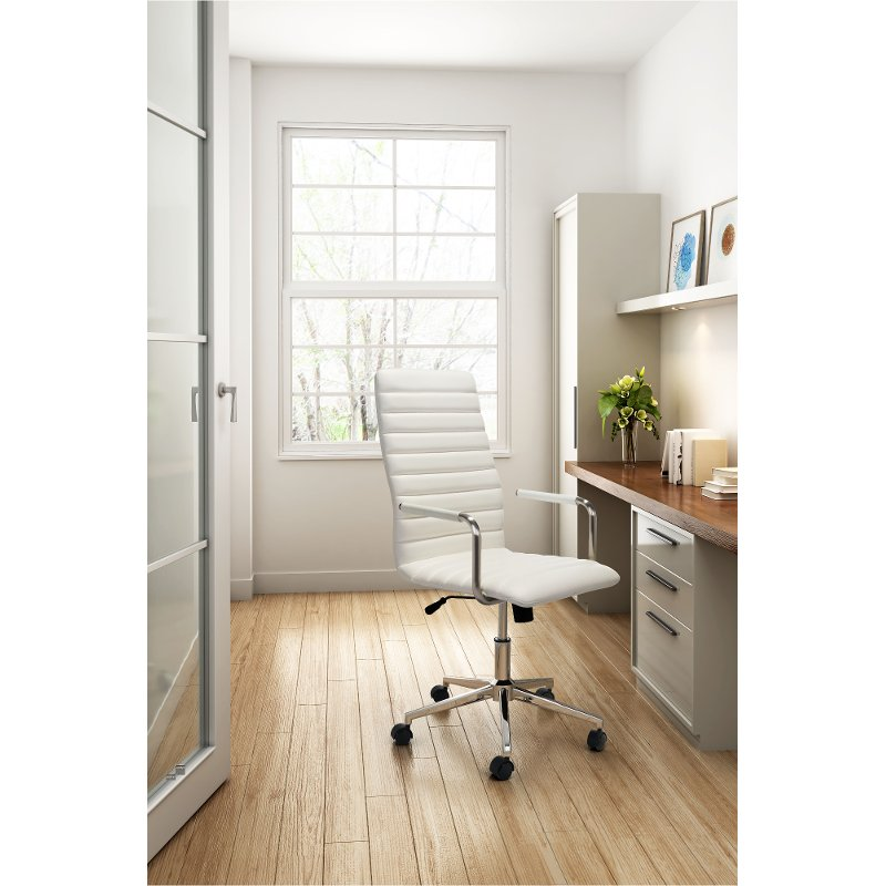 High Back White Office Chair - Pivot