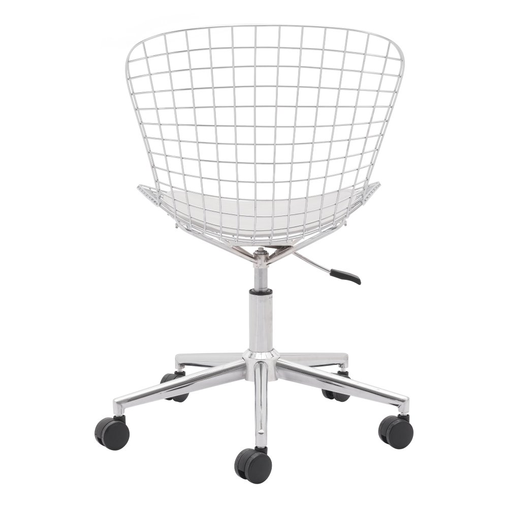 Wired Chrome And White Office Chair Wire Rc Willey Furniture