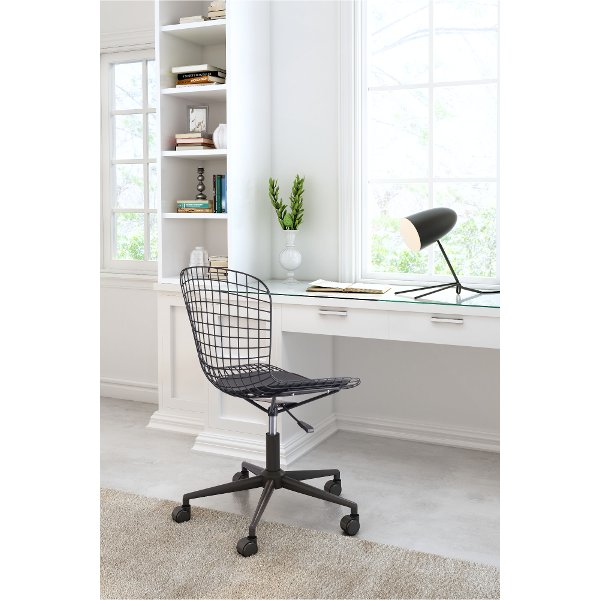 ... Wired Matte Black Office Chair   Wire Office