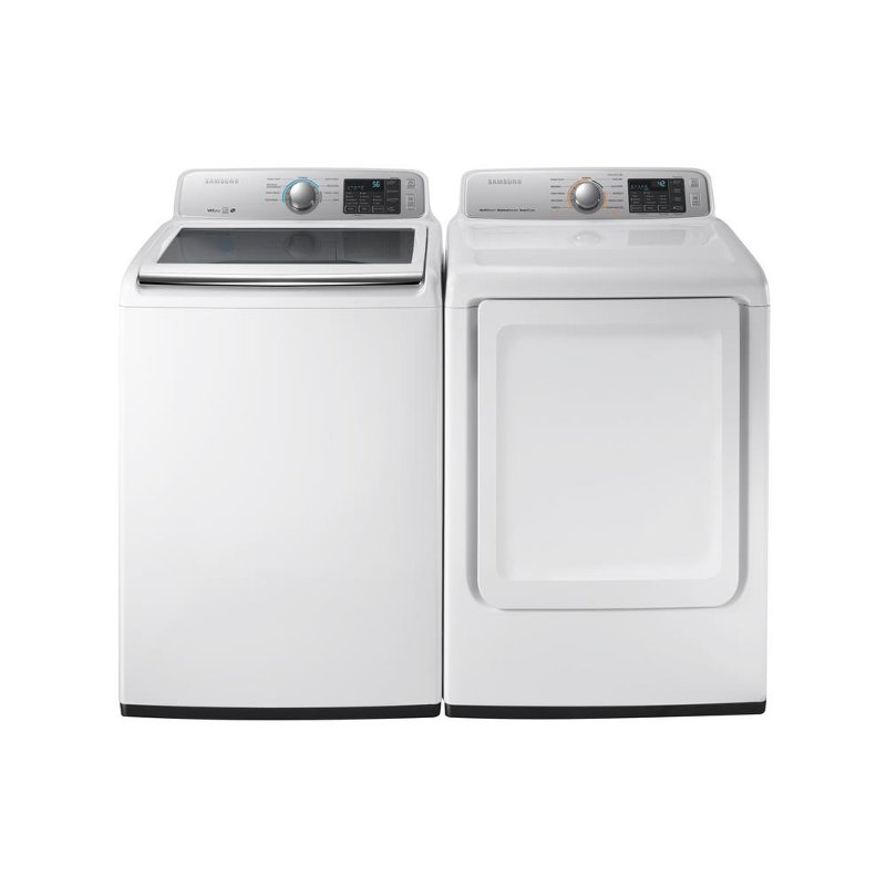 Samsung Top Load Washer and Electric Dryer with Rear Controls Set.