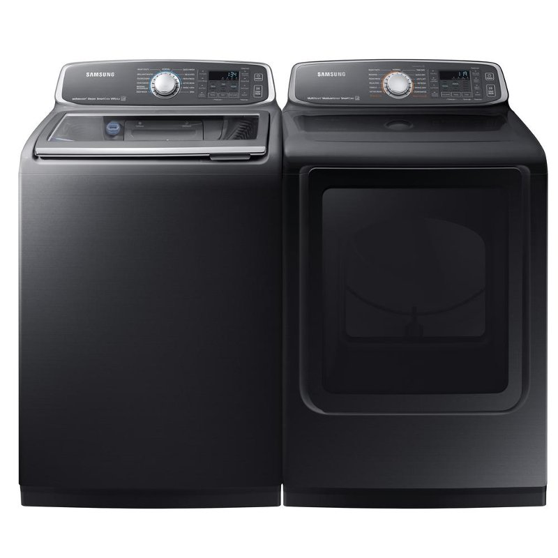 Samsung Top Load Washer and Electric Eco Dryer Set - Black.