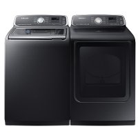 KIT Samsung Top Load Washer and Dryer Set - Black Stainless Steel Gas
