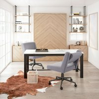 Contemporary Light Gray Armless Office Chair - Brix