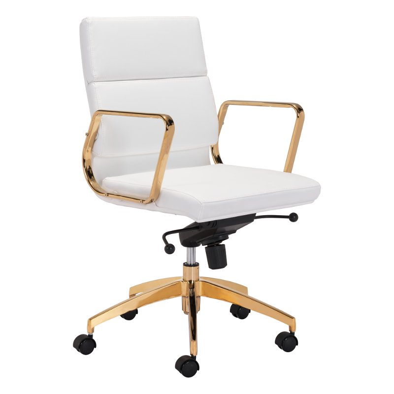 Sy White And Gold Office Chair
