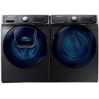 KIT Samsung Laundry Pair with Front Load Washer and Gas Dryer - Black Stainless Steel Gas