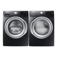 KIT Samsung Front Load Washer and Dryer Set - Black Stainless Steel Gas