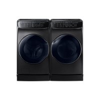 KIT Samsung FlexWash Front Load Washer and Dryer Set - Black Stainless Steel Electric