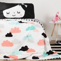 100344 Black and White Full Night Garden Bedding Collection -  Dreamit