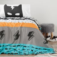 100345 Black and White Full Superheroes Bedding Collection - Dreamit