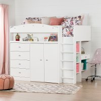 10523 White Twin Loft Bed - Tiara