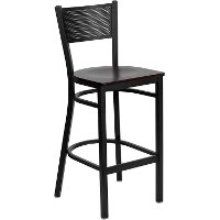 Mahogany and Black Metal Restaurant Barstool - Gridback