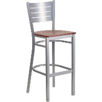 Cherry and Silver Metal Restaurant Bar Stool - Hercules