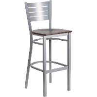 Walnut and Silver Metal Restaurant Bar Stool - Hercules