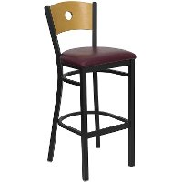 Black and Burgundy Metal Restaurant Bar Stool - Hercules