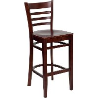 Mahogany Wood Restaurant Bar Stool - Ladderback