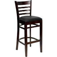 Walnut Wood Restaurant Bar Stool - Ladderback