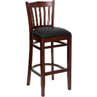 Mahogany Wood Restaurant Padded Bar Stool - Slatback