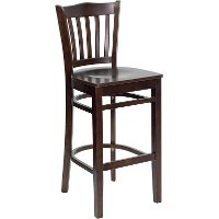 Walnut Wood Restaurant Bar Stool - Slatback