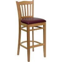Natural Wood Restaurant Padded Bar Stool - Slatback