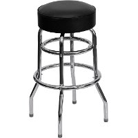 Black Double Ring Chrome Bar Stool
