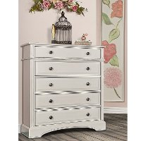 Classic Antique White 5 Drawer Chest - Evolur