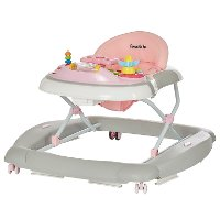 2-in-1 Pink and Gray Musical Baby Walker and Rocker