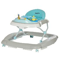 2-in-1 Aqua and Gray Musical Baby Walker and Rocker