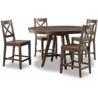 Raisin Brown Counter Height Round Dining Table - Castle Peak