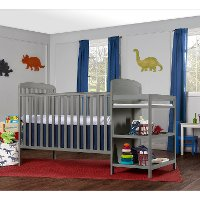 Contemporary Steel Gray 4 in 1 Crib and Changing Table Combo - Anna