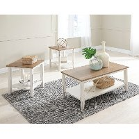 Classic Vintage Brown and White Living Room Table Set - Atticus
