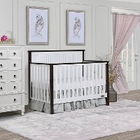 Contemporary White and Charcoal 5 in 1 Convertible Crib - Alexa II
