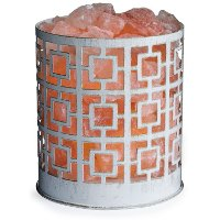 White and Brushed Gold Himalayan Salt Lamp - Candle Warmers